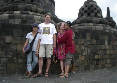In Borobudur Tempel , im Februar 2008 mit Heiko und Fransiska
